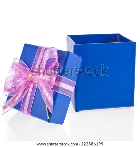 gift wrapped  box with pink bow isolated on white - stock photo