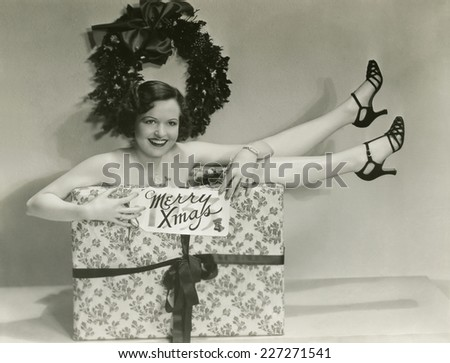 Gift wrapped for Christmas - stock photo
