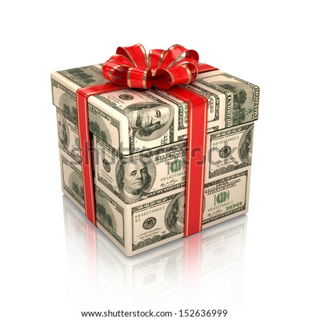 gift wrapped in dollar bills,3d isolated - stock photo