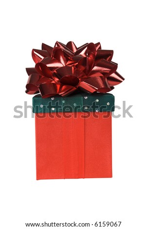 Gift wrapped in red and green material with colorful ribbons with a clipping path