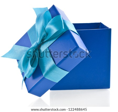 gift wrapped present box with blue satin bow close up isolated on white background - stock photo