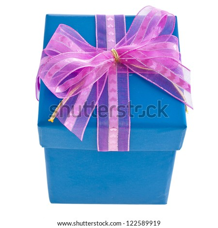 gift wrapped present box with pink bow isolated on white - stock photo