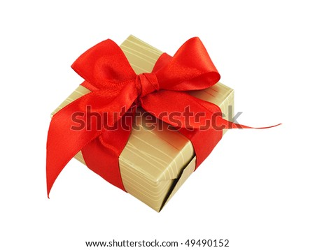 Gift wrapped present with a red satin bow, isolated on white - stock photo