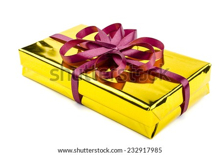 gift wrapped ribbon - stock photo