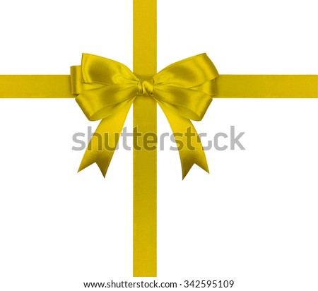 Gift yellow ribbon and bow isolated on white background.