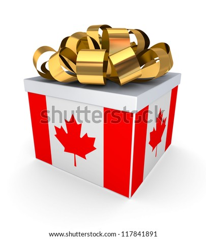 Giftbox with canadian flag.Isolated on white background.3d rendered. - stock photo