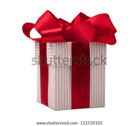 giftbox with red ribbon isolated on white background - stock photo