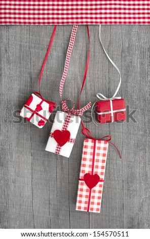 Giftboxes wrapped in paper - stock photo