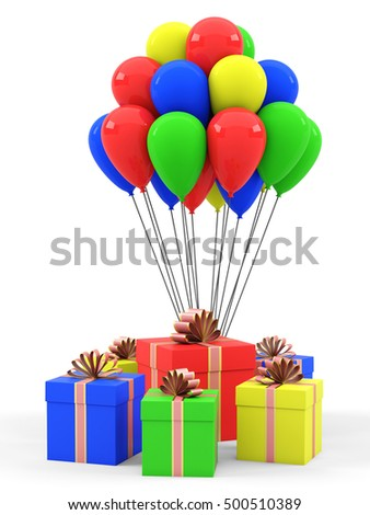 Gifts and balloons on a white background. 3D rendering