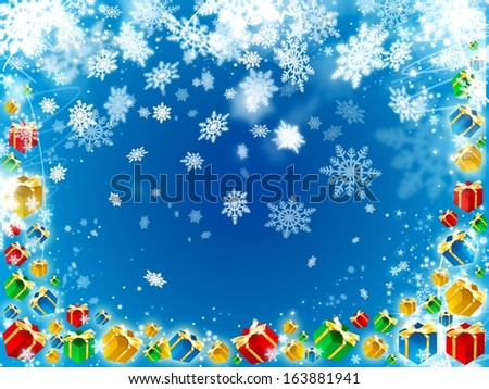 gifts and snowflake beautiful blue background illustration - stock photo