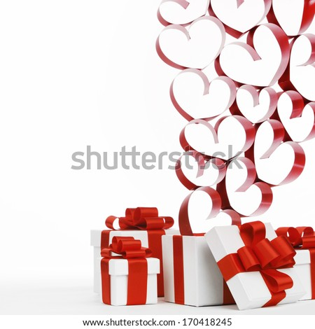 Gifts boxes with red ribbons and hearts, valentines day concept - stock photo