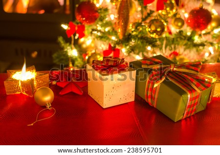 gifts, candles, fireplace, christmas tree