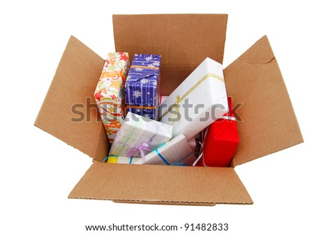 Gifts in a shipping box