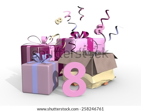 Gifts in pink tones for the eighth - stock photo