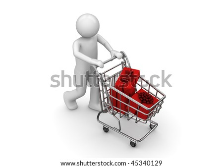 Gifts in shopping cart (3d isolated characters series) - stock photo
