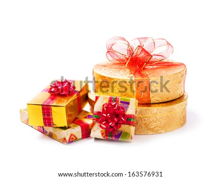 gifts isolated on white - stock photo