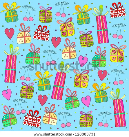gifts on a blue background - stock photo