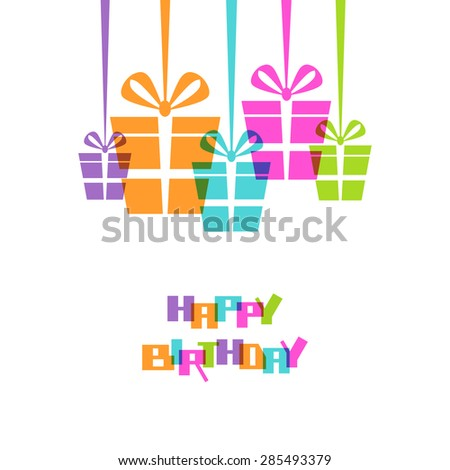 Gifts with ribbon and bow. Original design element. Greeting, invitation cute card - happy birthday! Decorative illustration for print, web - stock photo
