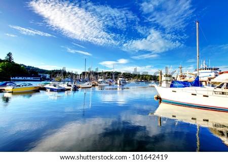Gig Harbor, WA. Small town downtown marina area. - stock photo