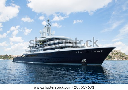 Gigantic big and large luxury mega yacht with helicopter landing place on the blue ocean. Investment for millionaires. - stock photo