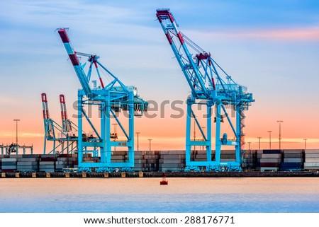 Gigantic cranes from the NewarkElizabeth marine terminal - stock photo