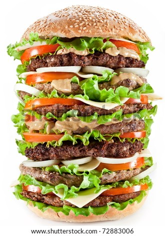 Gigantic hamburger on white background. - stock photo