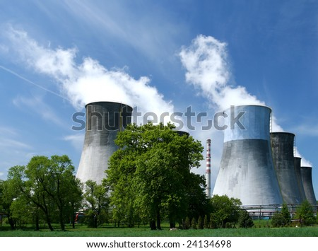 Gigantic power plant in Poland. Industrial structure landscape. - stock photo