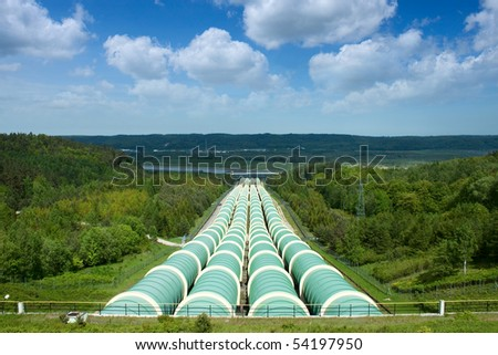 Gigantic water pipes of a power plant.