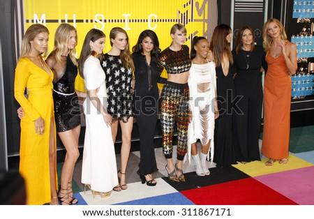 Gigi Hadid, Martha Hunt, Hailee Steinfeld, Cara Delevingne, Selena Gomez, Taylor Swift, Serayah, Mariska Hargitay, Lily Aldridge and Karlie Kloss at the 2015 MTV Video Music Awards on August 30, 2015. - stock photo