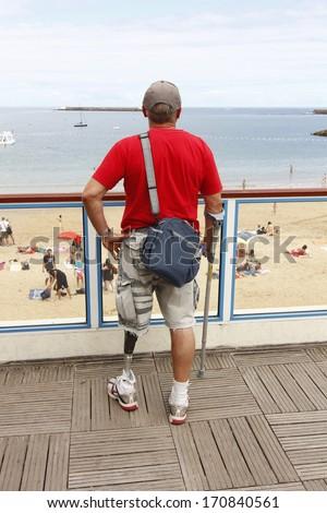 GIJON, SPAIN - JULY 05: Modern orthopedic leg sportspeople, on Gijon July 05, 2013 - stock photo