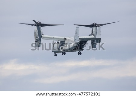 GIJON-SPAIN - JULY 26: V22 Osprey during exhibition in XI AIR FESTIVAL on july 26, 2015 in Gijon,Spain.