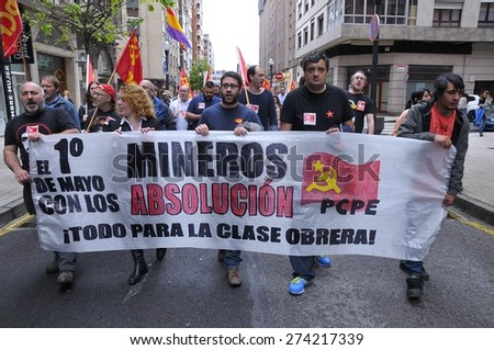 GIJON, SPAIN - MAY 1: Manifestation summoned by the UGT and CCOO labor unions to celebrate Labor Day in May 1, 2015 in Gijon.