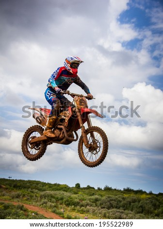 GIJON, SPAIN - MAY 24 2014: Participants in the MX State  Championship held in the city of Gijon, Spain, on Saturday, May 24, 2014.