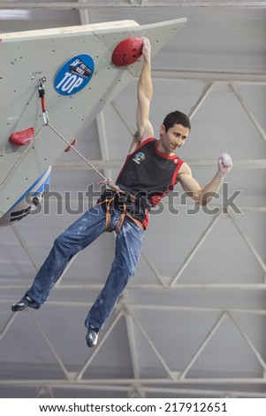 "GIJON, SPAIN Sep 13 2014:  ""Spanish climber Ramon Julian Puigblanque, who won the bronze medal in the IFSC World Climbing Gijon 2014""  held in the spanish city of Gijon, from 8 to 14 September, 2014 - stock photo"