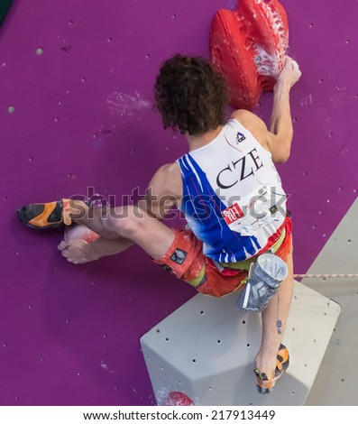 "GIJON, SPAIN Sep 13 2014:  "" The Czech climber Adam Ondra, who won the gold medal in the IFSC World Climbing Gijon 2014""  held in the spanish city of Gijon, from 8 to 14 September, 2014 - stock photo"
