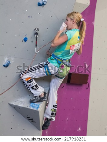 "GIJON, SPAIN Sep 12 2014:  "" The Slovenian climber, Mina Markovic, winner of the silver medal in the IFSC World Climbing Gijon 2014""  held in the spanish city of Gijon, from 8 to 14 September, 2014"