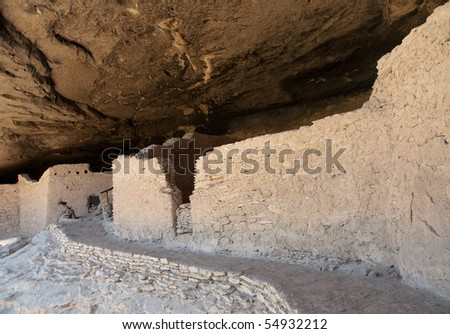 Gila Cliff Dwellings structure ruins and cave interior - stock photo