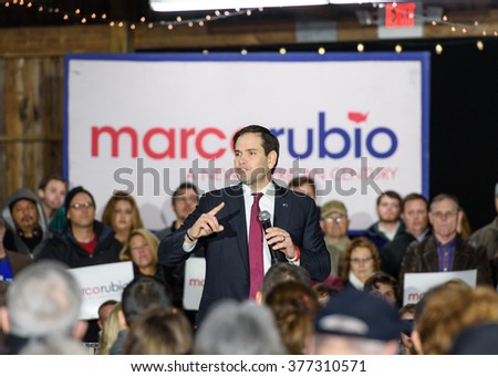 Gilbert, South Carolina - February 15, 2016: Presidential candidate Marco Rubio(R) speaks to an energetic crowd  during his Lexington Town Hall at Harmon's Tree Farm.  - stock photo