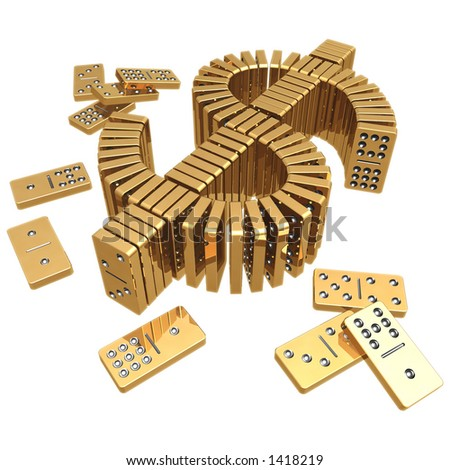 Gilded Dollar Domino (with clipping path) - stock photo
