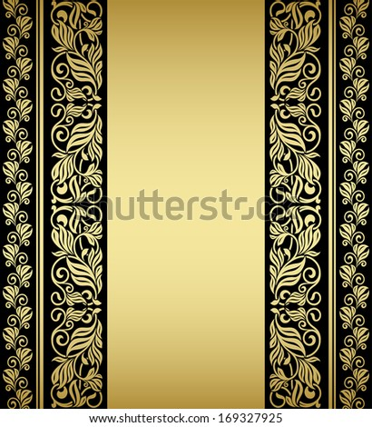 Gilded floral elements and patterns in retro style. Vector version also available in gallery - stock photo