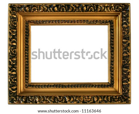 Gilded gold picture frame ready for your insertion. - stock photo