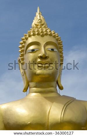 Gilded head of Buddha at Buddha Hill in Pattaya, Thailand - stock photo