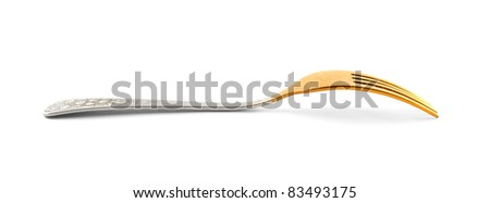 Gilded silver fork - stock photo