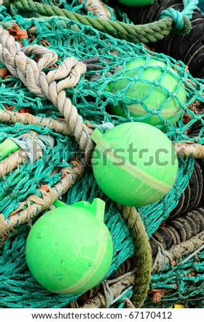 Gill nets and bouys in the Charleston Oregon harbor awaiting next season. - stock photo