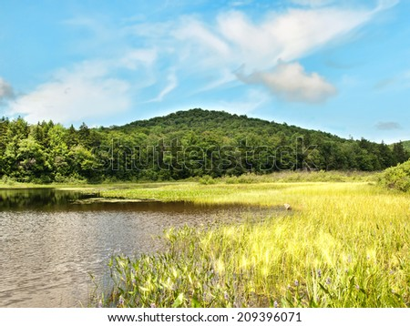 Gilman lake in Speculator, New york in the Adirondack State park - stock photo