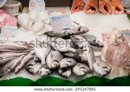 Gilt-head bream fishes at Mercat de Sant Josep de la Boqueria market in Barcelona, Spain - stock photo