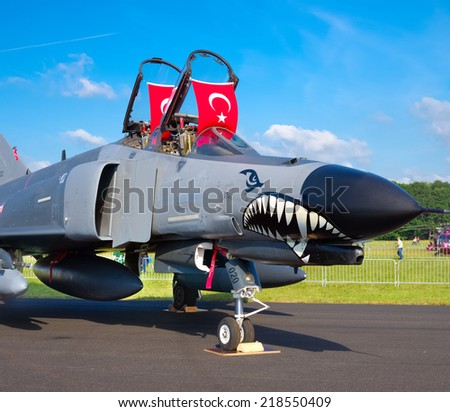 GILZE-RIJEN, NETHERLANDS - JUNE 21, 2014: Turkish F4 phantom at the Royal Dutch Air Force Days 2014. The airbase was in 2 days visited by 245,000 visitors. - stock photo