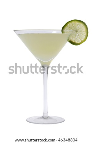 Gimlit mixed drink with lime slice on a white background