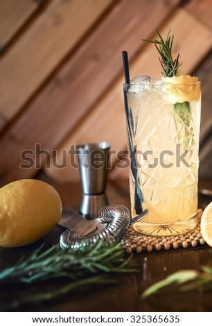 gin and tonic cocktail drink in pub, restaurant or nightclub. Refreshment cocktail drink served cold - stock photo