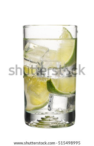 Gin and Tonic cocktail isolated on white background